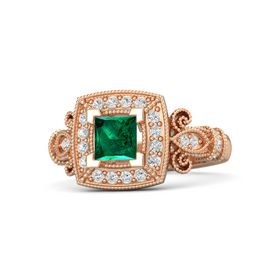 Princess Emerald 14K Rose Gold Ring with White Sapphire