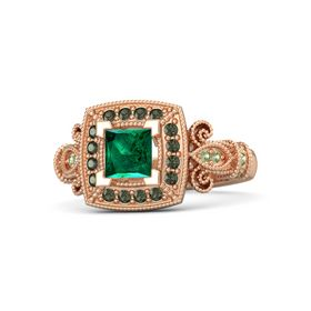 Princess Emerald 14K Rose Gold Ring with Green Tourmaline and Peridot