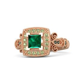 Princess Emerald 14K Rose Gold Ring with Peridot and Green Tourmaline