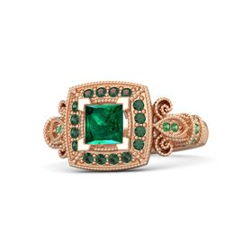 Princess Emerald 14K Rose Gold Ring with Alexandrite and Emerald