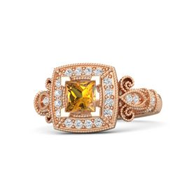 Princess Citrine 14K Rose Gold Ring with White Sapphire