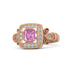 Princess Pink Sapphire 14K Rose Gold Ring with Aquamarine and Blue Topaz