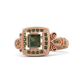 Princess Green Tourmaline 14K Rose Gold Ring with Green Tourmaline
