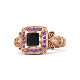 Princess Black Onyx 14K Rose Gold Ring with Amethyst and White Sapphire