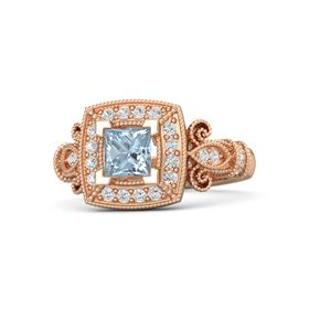 Princess Aquamarine 14K Rose Gold Ring with White Sapphire