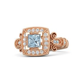 Princess Aquamarine 14K Rose Gold Ring with White Sapphire & Aquamarine
