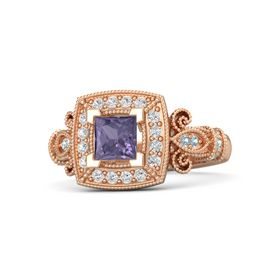 Princess Iolite 14K Rose Gold Ring with White Sapphire and Aquamarine