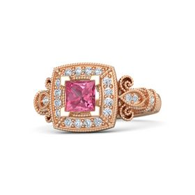 Princess Pink Tourmaline 14K Rose Gold Ring with Diamond