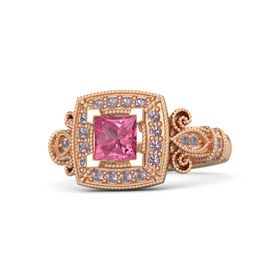 Princess Pink Tourmaline 14K Rose Gold Ring with Rhodolite Garnet