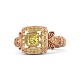 Princess Yellow Sapphire 14K Rose Gold Ring with Yellow Sapphire and Citrine