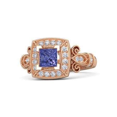 princess tanzanite 14k gold ring with