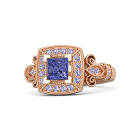 Princess Tanzanite 14K Rose Gold Ring with Tanzanite
