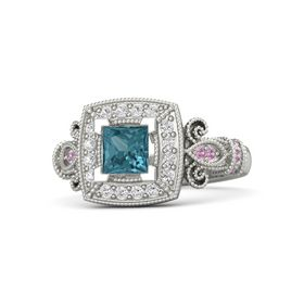 Princess London Blue Topaz 14K White Gold Ring with White Sapphire and Pink Tourmaline