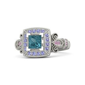 Princess London Blue Topaz 14K White Gold Ring with Iolite and Pink Tourmaline