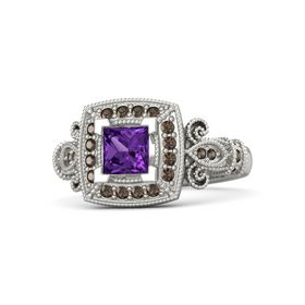 Princess Amethyst 14K White Gold Ring with Smoky Quartz