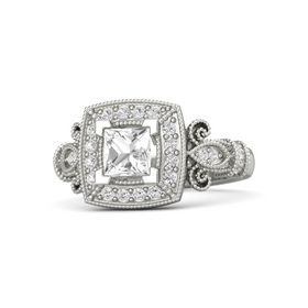 Princess Rock Crystal 14K White Gold Ring with White Sapphire