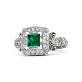 Princess Emerald 14K White Gold Ring with Diamond