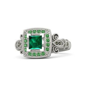 Princess Emerald 14K White Gold Ring with Emerald and Green Tourmaline