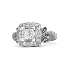 Princess White Sapphire 14K White Gold Ring with White Sapphire & Sapphire