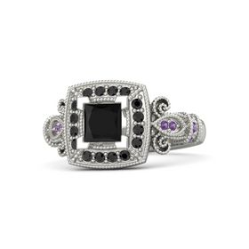 Princess Black Onyx 14K White Gold Ring with Black Diamond and Amethyst
