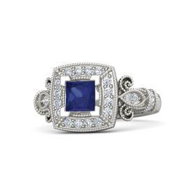 Princess Sapphire 14K White Gold Ring with Diamond