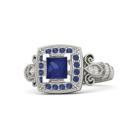Princess Sapphire 14K White Gold Ring with Sapphire & White Sapphire