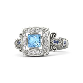 Princess Blue Topaz 14K White Gold Ring with White Sapphire and Blue Sapphire