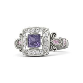 Princess Iolite 14K White Gold Ring with White Sapphire and Pink Sapphire