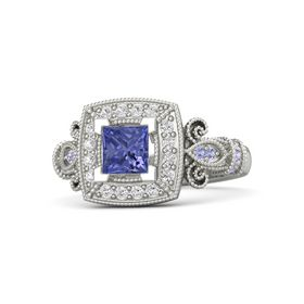 Princess Tanzanite 14K White Gold Ring with White Sapphire & Tanzanite
