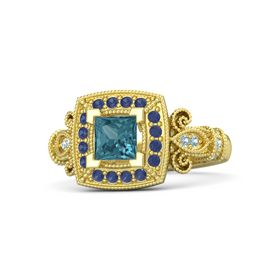 Princess London Blue Topaz 14K Yellow Gold Ring with Blue Sapphire and Aquamarine