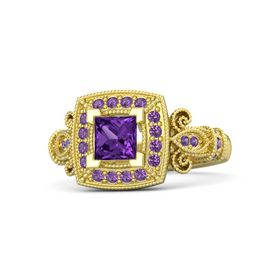 Princess Amethyst 14K Yellow Gold Ring with Amethyst
