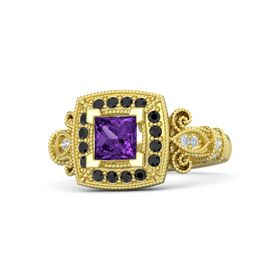 Princess Amethyst 14K Yellow Gold Ring with Black Diamond and Diamond