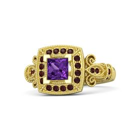 Princess Amethyst 14K Yellow Gold Ring with Red Garnet