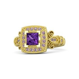 Princess Amethyst 14K Yellow Gold Ring with Rhodolite Garnet