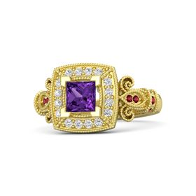 Princess Amethyst 14K Yellow Gold Ring with White Sapphire and Ruby