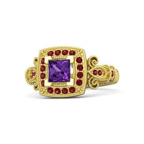 Princess Amethyst 14K Yellow Gold Ring with Ruby