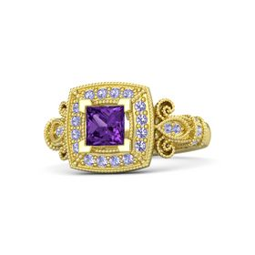 Princess Amethyst 14K Yellow Gold Ring with Tanzanite