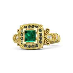 Princess Emerald 14K Yellow Gold Ring with Green Tourmaline and White Sapphire