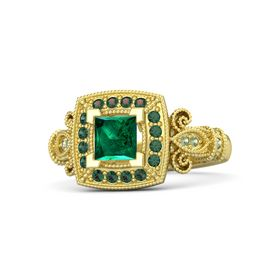 Princess Emerald 14K Yellow Gold Ring with Alexandrite and Peridot