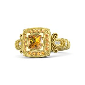 Princess Citrine 14K Yellow Gold Ring with Citrine and White Sapphire