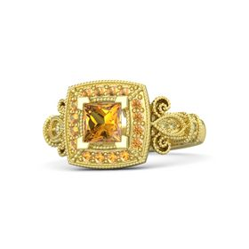 Princess Citrine 14K Yellow Gold Ring with Citrine & Yellow Sapphire