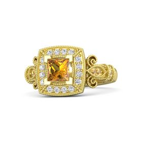 Princess Citrine 14K Yellow Gold Ring with White Sapphire and Citrine