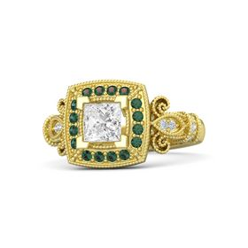 Princess White Sapphire 14K Yellow Gold Ring with Alexandrite and Diamond