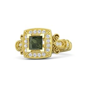 Princess Green Tourmaline 14K Yellow Gold Ring with White Sapphire