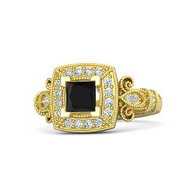 Princess Black Onyx 14K Yellow Gold Ring with Diamond