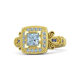 Princess Aquamarine 14K Yellow Gold Ring with Blue Topaz & Sapphire