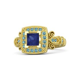 Princess Blue Sapphire 14K Yellow Gold Ring with London Blue Topaz