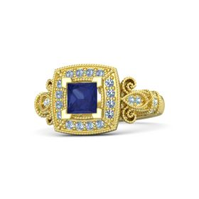 Princess Blue Sapphire 14K Yellow Gold Ring with Blue Topaz and Aquamarine
