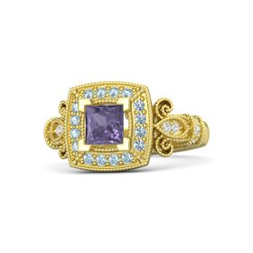 Princess Iolite 14K Yellow Gold Ring with Aquamarine & White Sapphire