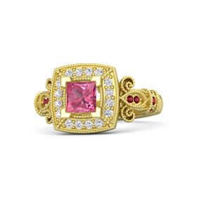 Princess Pink Tourmaline 14K Yellow Gold Ring with White Sapphire & Ruby